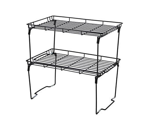 NEUN WELTEN Stapelbar und Faltbar Zusatzregal für Teller Eck-Schrankeinsatz, Arbeitsplatte und Küchen-schränke 38L × 23B × 19Hcm (Groß 2er Set, Schwarz)