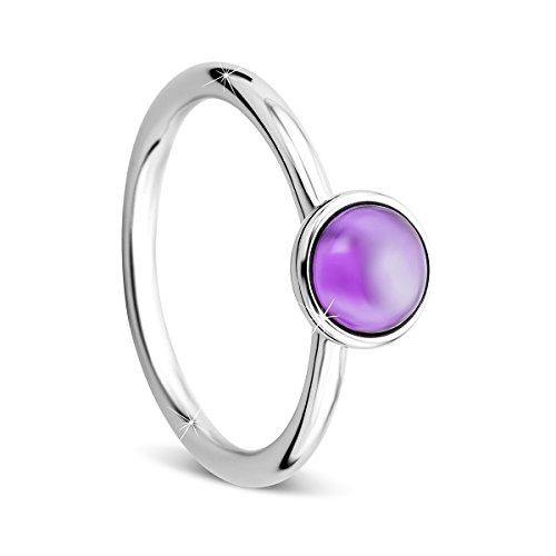 Orovi Ring sterling silber 925 Damen-Amethyst RingRhodium plated 1.3crt