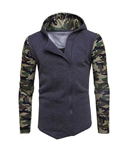 CuteRose Men Zip Fleece Fashion Irregular Sport Tunic Hoodie Sweatshirts Dark Grey XL Aeropostale Zip
