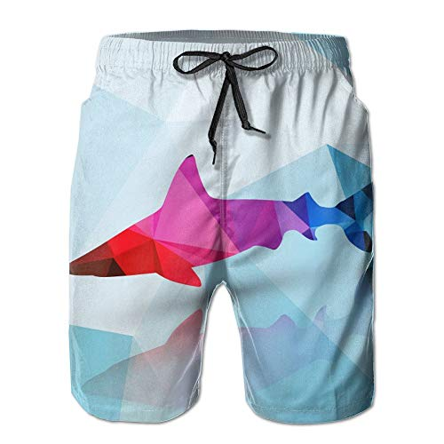 Nisdsh Shark Men's Quick Dry Beach Board Shorts Summer Swim Trunks for Father's Day for Boy Swimming X-Large Custom Fit Mesh Rugby