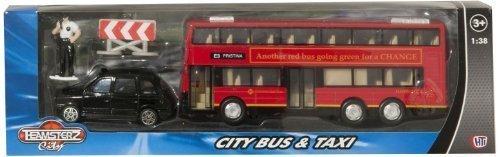 Teamsterz Druckguss U-bahn Doppeldecker London Im stil Btitish Bus Und Schwarz Hackney Taxi Modellbau-Set maßstab 1/38