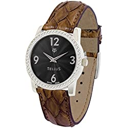 Tellus - Vintage - Luxury Women's watch with black dial, gold strap in Genuine python, Swiss Made - T5068DI-105