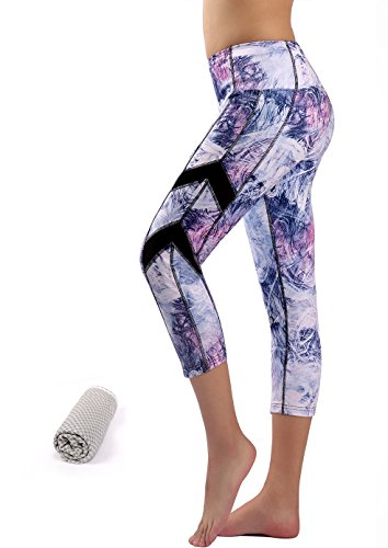 Munvot Aquarell Muster Yoga Pants Damen Sport Leggings Printed - TUMMY CONTROL - Hohe Taille Sporthosen Super für Fitness, Joggen, Yoga etc. (M, Hellblau) (3 Damen Trainingshose)