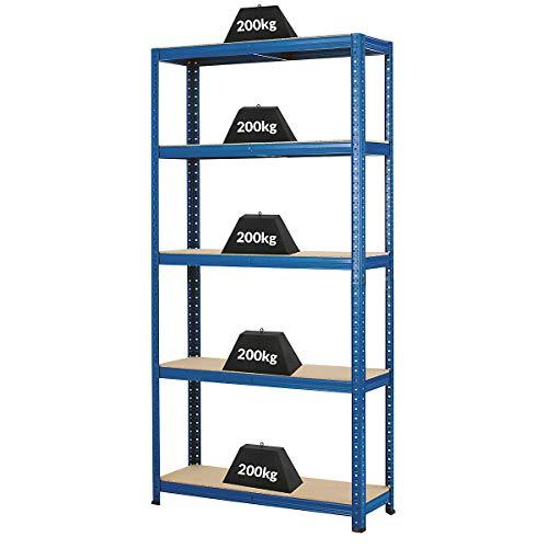 Certeo Etagère de garage | HxLxP - 178 x 90 x 30 cm | Charge maximale de 200 kg par étagère | Profondeur 30 cm | Charge totale acceptable 1000 kg | Rayonnage métallique