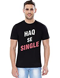 The Souled Store Zakir Khan Haq Se Single Funny Printed Premium BLACK Cotton T-shirt for Men Women and Girls