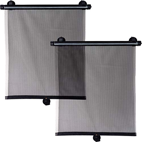 Smartfox 2X Sonnenschutz für Baby Blendrollo Blendschutz für Seitenfenster und Heckscheiben PKW KFZ Auto schwarz
