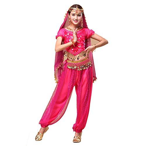 Bauchtanz Tribal Tanz Outfits Tanzkleidung Bauchtanz Kostüm Set Indischer Tanz Top & Paillette Bauchtanz Hose (Up Cowboy Kleidung Dress)