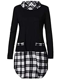 TWFIER Langarm Shirts Plaid Patchwork Plus Size Herbst Winter Damen Pullover  Bluse (S-5XL 99462b110e