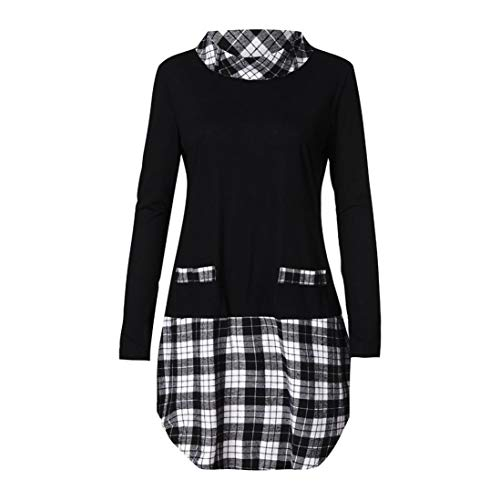 TWFIER Langarm Shirts Plaid Patchwork Plus Size Herbst Winter Damen Pullover Bluse (S-5XL)