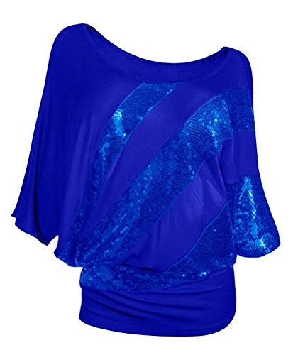 SMITHROAD Damen T-Shirt mit Pailletten Aufdruck Fledermaus Shrit Top Kurzarm dehnbar Rundhalsausschnitt Loose Fit Dunkelblau