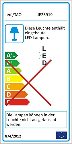 Jedi Lighting iDual Emeral RGB LED-Deckenleuchte 1-flammig, dimmbar, Warmton, Farbwechsler mit Fernbedienung....
