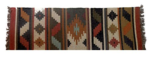 Indischer Kilim-Jute-Teppich, handgewebt, wendbar, handgewebt, Kilim-Teppich, Kilim-Wolle, Mehrfarbig - 6' Wolle Teppich