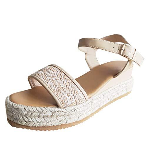 UOWEG Wedges Sandalen für Damen Bohemian Hanfseil Weben große Plattform Schnalle Sandale Wedges Schuhe (Sandale Schnalle Patent)