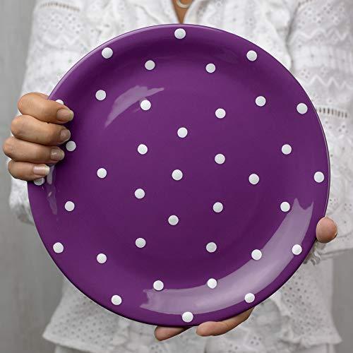 City to Cottage   Assiette plate   Violette à pois blancs en céramique faite et peinte à la main   25,5cm