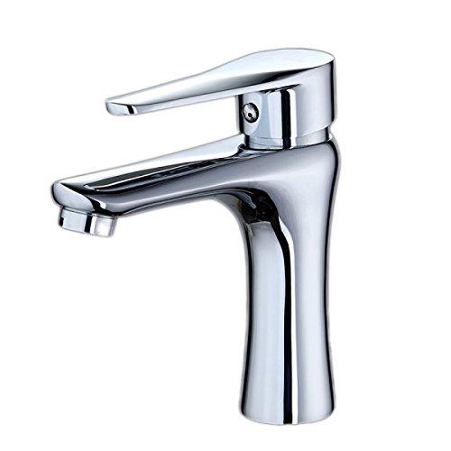HQQ Badezimmer-Kabinett-Hahn heißes und kaltes Wasserhahneinzelloch-Bassinhahn-Kupferbadezimmer-Waschbeckenhahn -