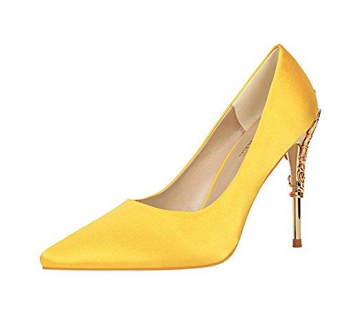 XINJING-S Bowknot High Heels Schuhe Party Hochzeit Frauen Pumps Heels OL Kleidung Schuhe Sandalen Gelb