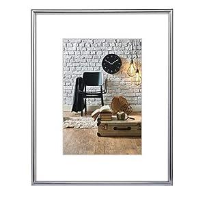 Hama Sevilla Bilderrahmen, DIN A3 (29,7 x 42 cm), mit Papier-Passepartout 18 x 24 cm, bruchsicheres Kunststoff Glas, zum Aufhängen, silber
