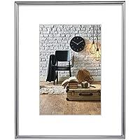 Hama Bilderrahmen Sevilla DIN A3 (29,7x42 cm) (Fotorahmen mit Papier-Passepartout 18x24 cm, Rahmen aus bruchsicherem Kunststoff Glas zum Aufhängen) silber matt