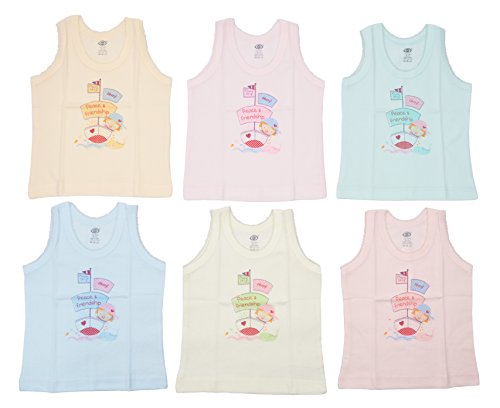 Zero Baby Girl Sleeveless Vests (Pack of 6), 100% Cotton, Size: 3-6 Months