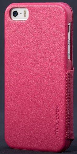 Edle Handytasche Echt Leder Case Etui Hülle für das iPhone 5/5s / seitlich zu öffnen / schmales Design / ultraleicht / Farbe: pink pink