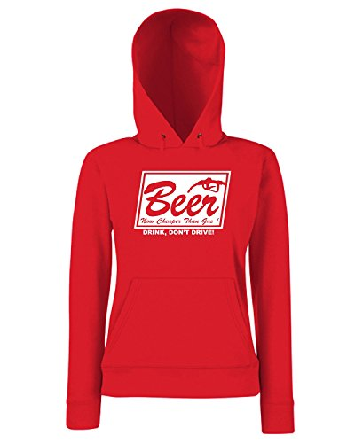 T-Shirtshock - Sweats a capuche Femme FUN0735 beer cheaper than gas adhesive vinyl decal 60452 Rouge