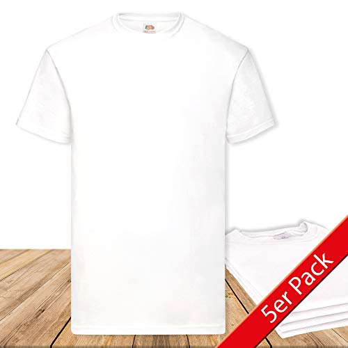 Fruit of the Loom Original  T Rundhals T-Shirt F140 5er Pack- Gr. L, White