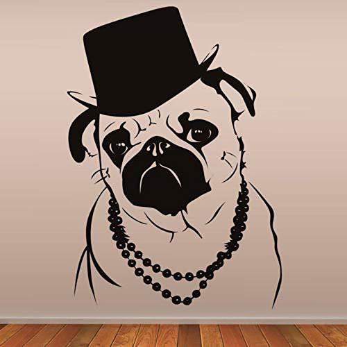 Geiqianjiumai Cool Bulldog in Hat Fashion Animal Art Wall Painting Waterproof Vinyl...