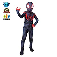 Huihong Spiderman Children Cosplay Costume Miles Spiderman Role Play Clothing Kids Bodysuit Spandex Jumpsuits Fancy Dress Costume