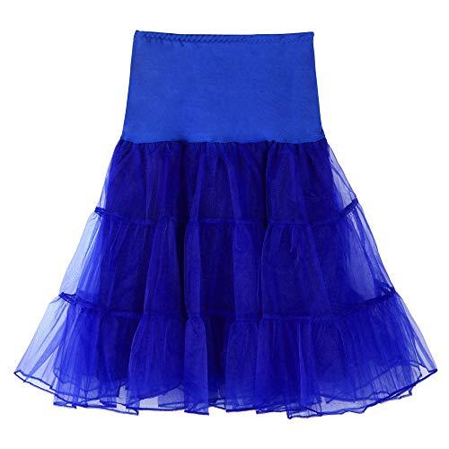 Andouy Damen Tutu Rock Tüll Organza A-Linie Petticoat Balletttanz Layred Kostüm Dress-up Größe 34-52(40-42,Blau) -