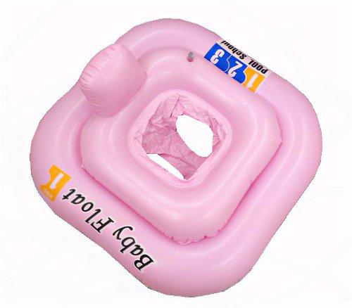 Schwimmsitz/Schwimmring für Babys, quadratisch, aufblasbar, 0-12 Monate, Rosa (Quadratische Aufblasbare)