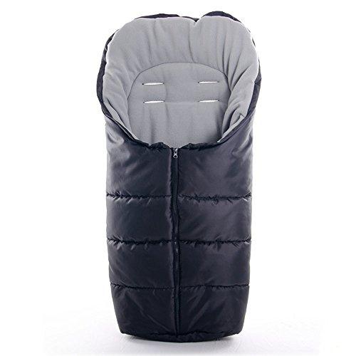 Universal Winter-Fußsack Basic für Kinderwagen, Sportwagen & Buggy | mit Thermo-Fleece, warme Mumien-Kapuze | Schwarz Grau