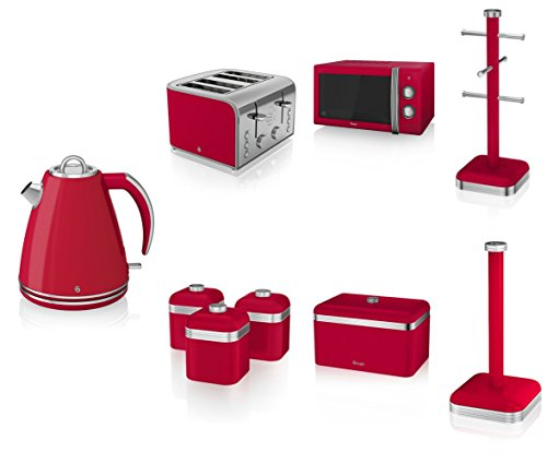 Swan Kitchen Appliance Retro Set - Red Manual Microwave, 1.5l Jug Kettle, 4 Slice Toaster, Retro Breadbin And 3 Canisters Set, 6 Mug Tree And Kitchen Roll Stand Towel Pole