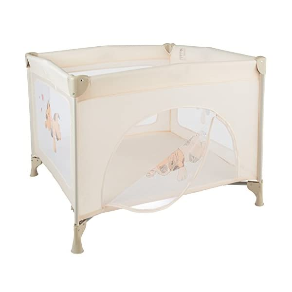 TecTake Portable Child Baby Infant Playpen Travel Cot Bed Crawl Play Area new beige TecTake Only the best for my baby: Our high-quality manufactured baby playpen is excellently suited to play, crawl around and to sleep. // Total dimensions: (LxWxH): 105 x 105 x 78 cm. As it is especially space-savingly collapsible, you won't only use it at home but also when travelling. // Dimensions collapsed (LxWxH): approx. 94 x 20 x 20 cm. The side elements are furnished with breathable mesh-textures, so that you can always keep an eye on your little darling. In addition, the playpen has a padded sleep mat and thus serves as a small travel cot. 3