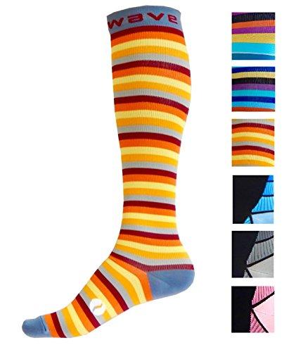Kompression Socken (1Paar) für Damen & Herren von Wave–Beste für Running, Leichtathletik, Crossfit, Flight Reisen, Still Schwangerschaft, (Armour Under Baseball-socken)