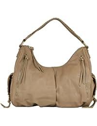 B-L'ARTICLE BELUCIA ALASTAIR Bag, Grand Sac d'épaule, Véritable cuir d'agneau, Couleur Latte-Beige