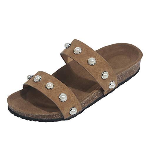 LILIHOT Frauen-Flache beiläufige Perle beiläufige Sandalen Strandschuhe Hausschuhe Damenmode Sommer Hausschuhe Solid Color Damen Skorpion Hausschuhe Flash Comfort Sandalen