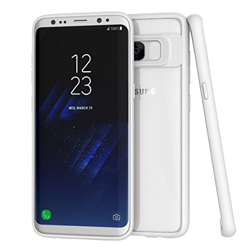 ZUSLAB Galaxy S8 Hülle, Stoßfest Fallschutz TPU Weich Bumper Transpanrent PC Hinten Hybrid Handy-hülle für Samsung Galaxy S8 - Rosa Weiß