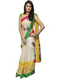 Mansvi Fashion Net Saree With Blouse Piece (White_Free Size)
