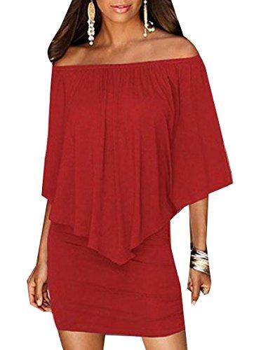 CuteRose Women One Word Shoulder Skater Skirt Ruffled Banquet Bodycon Dress XL Wine Red (Wrap Ruffled Dress)