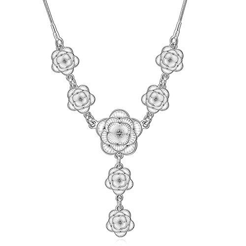 Retro Zwei Licht-insel (amdxd Jewelry Silber vergoldet Anhänger Halsketten für Frauen Silber Blumen Design Halskette)