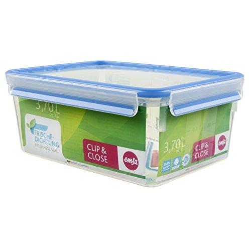 Emsa 508546 Rechteckige Frischhaltedose mit Deckel, 3.7 Liter, Transparent/Blau, Clip & Close 3.7