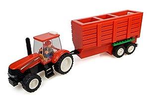 Universal Hobbies-uhk1205-Tractor en Ladrillos-Case con Remolque de heno y fermier-318Piezas