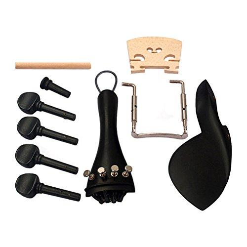 Ultnice-Set composto da 15parti per violino 4/4 in legno d'ebano.Parti di violino, accessori, ponte, poggia mento, puntale, accordatori, coda, parte terminale, strumenti musicali.