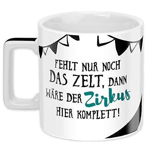 Tasse 45922, Kaffee-Tasse mit Spruch Zirkus, Porzellan, 45 cl, schwarz-weiß ()