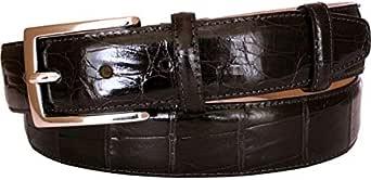 ESPERANTO Cintura in coda di coccodrillo altezza 3,5 cm, fodera in fiore Nabuk, fibbia Nichel free