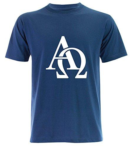 PALLAS Men's Omega and Alpha Symbols T Shirt Blue