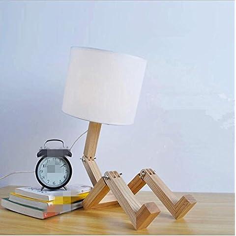 WL&F Personalità designer creativo di arte moderna in legno di frassino legno della lampada robot (Lampade Inoltre Legno Lampada Da Tavolo)