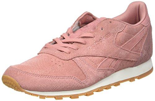Reebok Damen CL Lthr Clean Exotics Laufschuhe, Pink (Grey Sandy Rose/Chalk/Gum), 40.5 EU (Cl Reebok Classic)