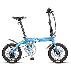 Bicicleta De Ciudad 16 Pulgadas 7 Velocidades Bici Doblez Marco de Aleación de Aluminio para Unisex Adulto,Blue