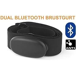 Bluetooth y ANT + Correa de Pecho para Runtastic, Wahoo, Strava App, para Android como Samsung S3/S4/S5/S6/S7/S8, Sony, LG, HTC, Google Medidor de frecuencia cardíaca, HRM